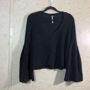 Free People Black Damsel Bell Sleeve Sweater